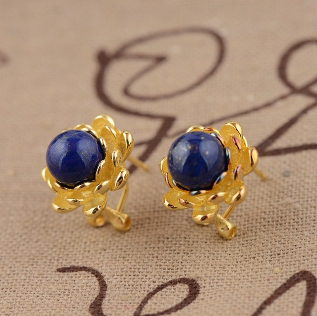 Lapis S925 ear clip silver inlaid electroplating female flowers rich exquisite style suit