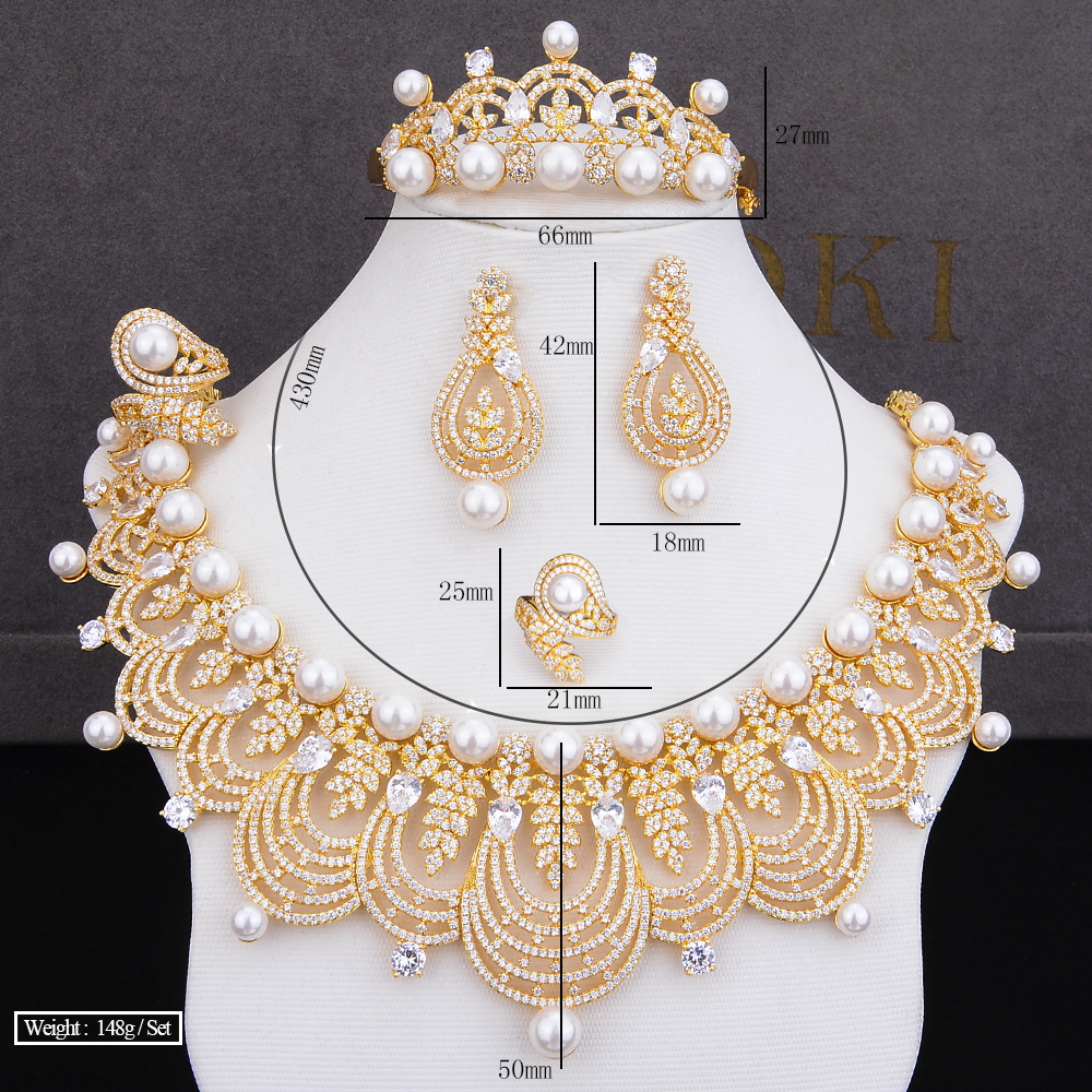 GODKI luksusowe imitacją perły 4 sztuk DUBAI zestawy biżuterii dla kobiet ślub Cubic cyrkon kryształ CZ Indian afryki zestaw biżuterii ślubnej w Zestawy biżuterii od Biżuteria i akcesoria na  Grupa 2