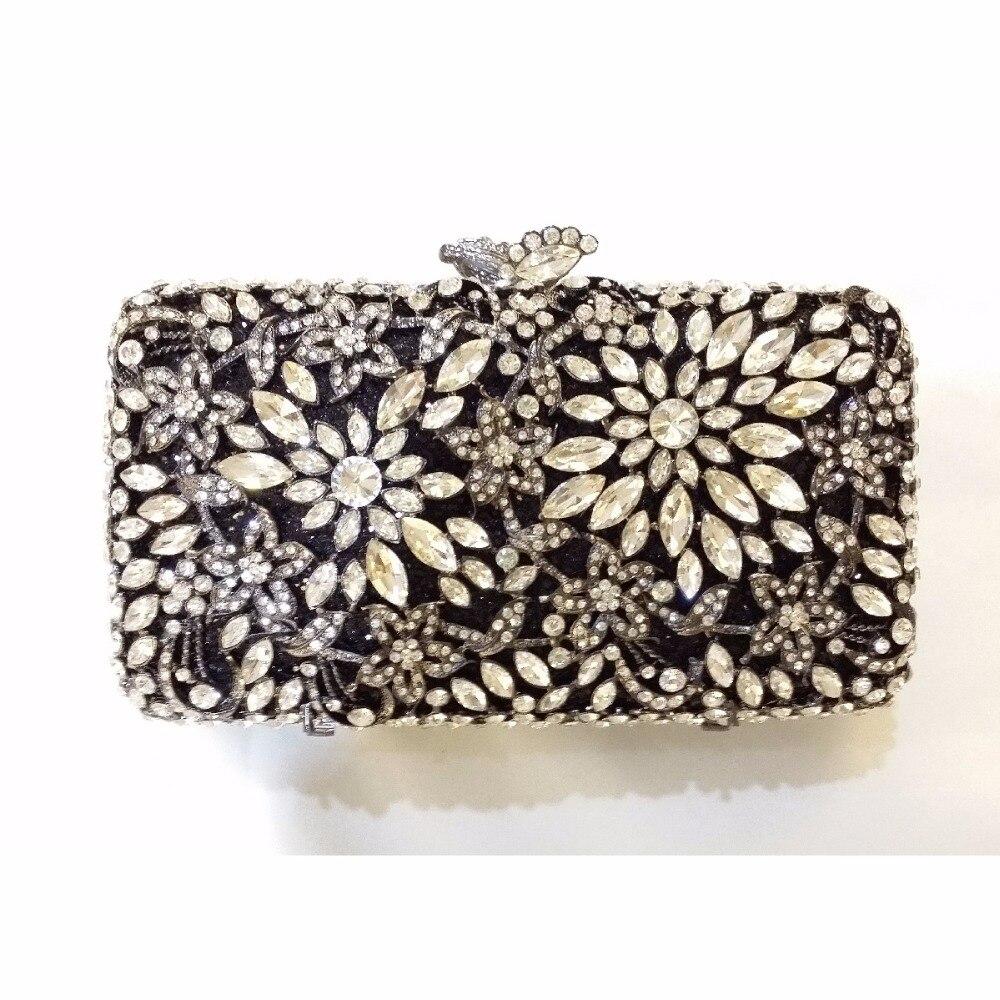 ФОТО 8244BK Crystal Flower Floral Fashion Wedding Bridal hollow golden Metal Evening purse clutch bag handbag case