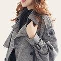 2016 Outono Nova Chegada Revestimento Das Mulheres Trincheira Trespassado Turn-Down Collar Longo Xadrez Outwears S-2XL