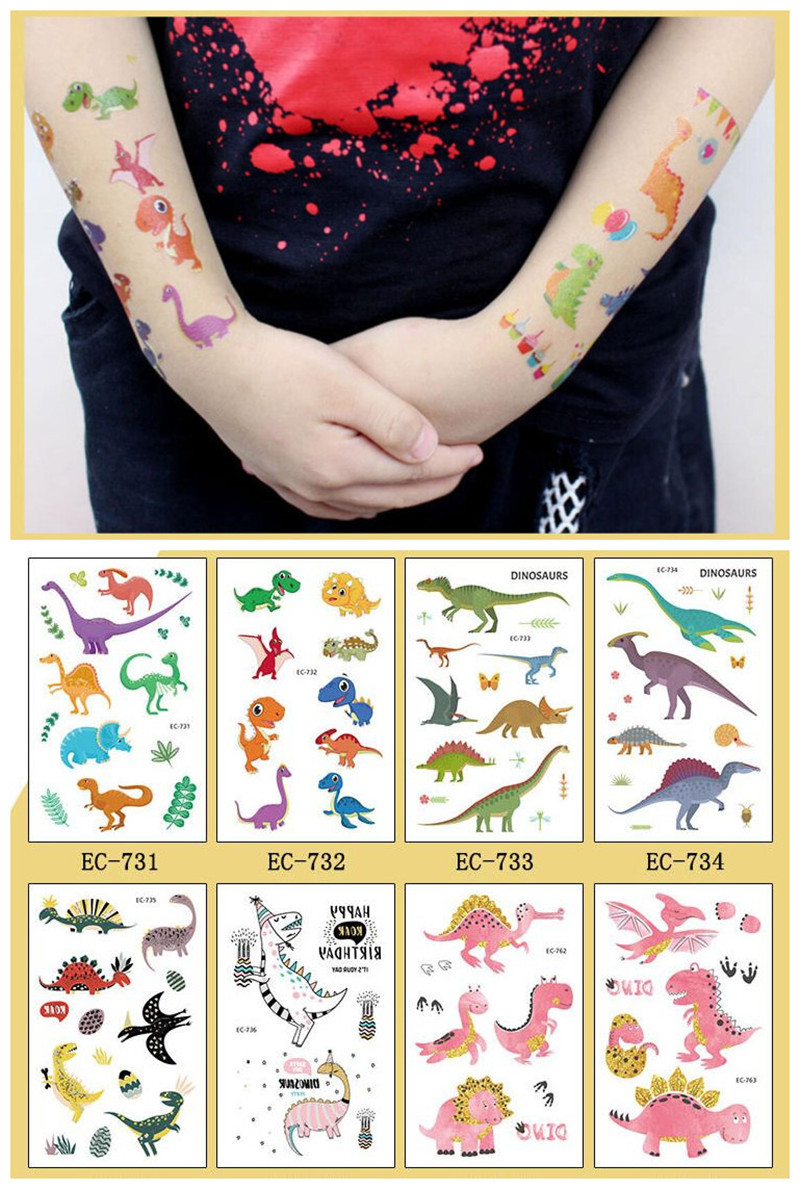 Cartoon Hats 5pcs/set Dinosaur Children's Temporary Tattoos Stickers Dinosaur Body Art Sleeve Tattoo Waterproof  Cartoon Hat
