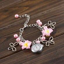 Reloj New HOTNew Style Girls Colourful Clay Flower Bracelet Quartz Watch Dece29