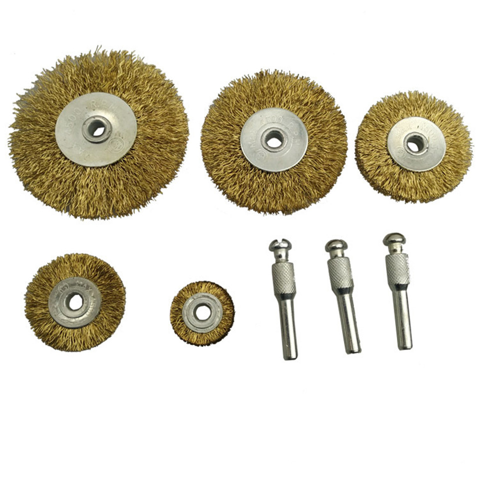 8Pcs Dremel Rotary Tool Stainless Steel Center Wire Wheel Brush Handle Deburring Copper Grinding Burr Welding 0 127mm standard stainless steel wire brush for metal anilox roller
