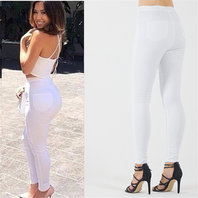 b2ef199a98d Plus Size White Jeans In Women's Skinny Pants Elasticity High Waist Pencil  Jeans