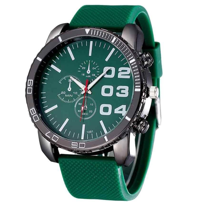 Unggul Mens Bergaya Mewah Besar Big Dial Silicone Band Quartz Wrist Watch Olahraga Menonton Hadiah relogio masculino relojes Uhren 22