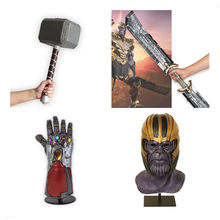 2019 Endgame 4 Guerra Thanos Maschera In Lattice Thanos Weapo Superhero Thor Thunder Hammer Iron Man Tony Stark Guanto Cosplay Prop(China)