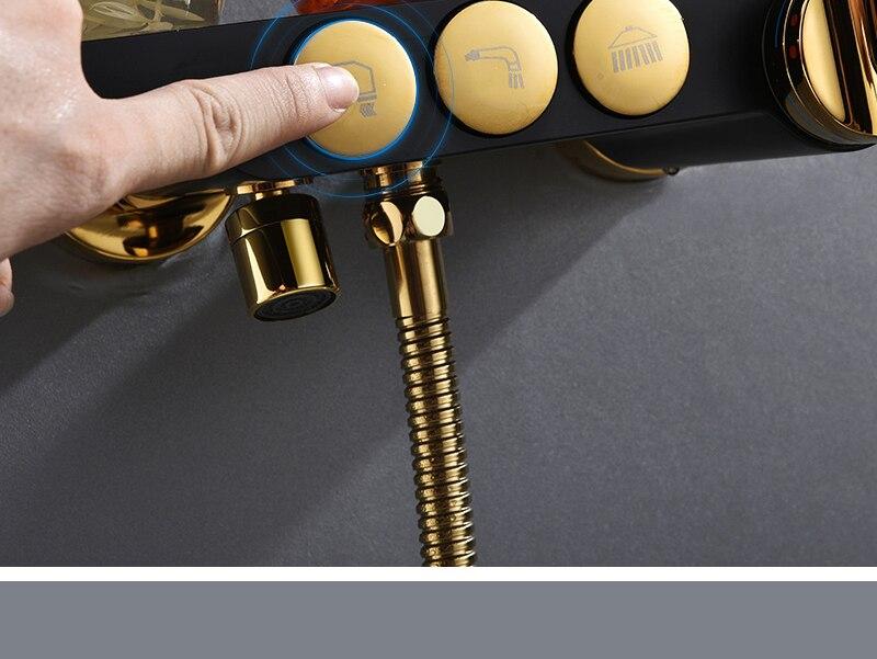 hm Black Rainfall Thermostatic Shower Faucet Set Single Lever Brass Mixer Valve Rack Bath Shower Mixers Rack shower set (12)