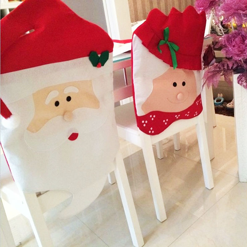 Aliexpress Buy 1pcs Mr Mrs Santa Claus Christmas Kitchen Chair Covers Decoration Dinner Chairs Banquet Cover Papai Noel SD31 From