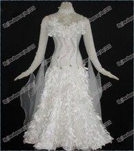 Real Feather Ballroom Dance Competition Dress ballroom dancing dresses international standard ballroom dance dress B-0220