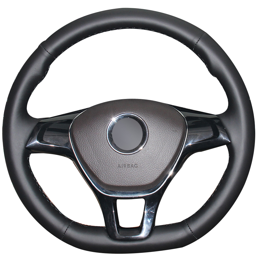 Black Natural Leather Car Steering Wheel Cover for Volkswagen VW Golf 7 Mk7 New Polo Jetta