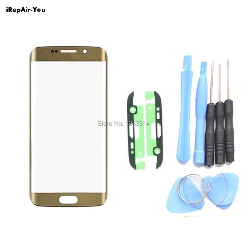 IRepair-Vous Écran Avant Remplacement Lentille En Verre Pour Samsung Galaxy S7 bord G935F Tactile Panneau Verre Kits (pas logo) + Adhésif + Outils