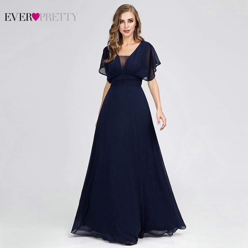 New Ever Pretty Elegant   Bridesmaid     Dresses   Short Sleeve V-Neck Navy Blue Formal   Dresses   For Wedding Party Vestido Madrinha 2019