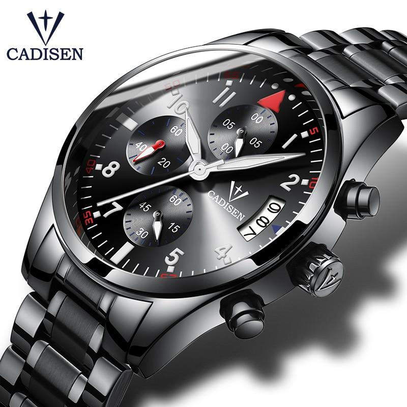 все цены на CADISEN Mens Watch Fashion Sport Quartz Clock Men Watches Top Brand Luxury Stainless steel Business Waterproof Relogio Masculino