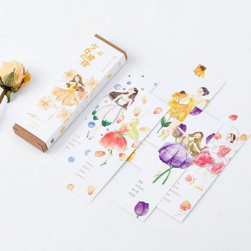 30pcs/box Girl Skirt Paper Cartoon Bookmarks Kawaii Children Stationery Office School Supplie Papelaria Kids Gifts