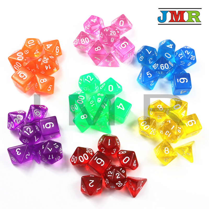 все цены на Top Quality 7pcs/set Transparent Digital Polyhedral Rich Color Dice,Set of D4 D6 D8 D10%D12 D20 for Dnd Rpg Board Game dice онлайн