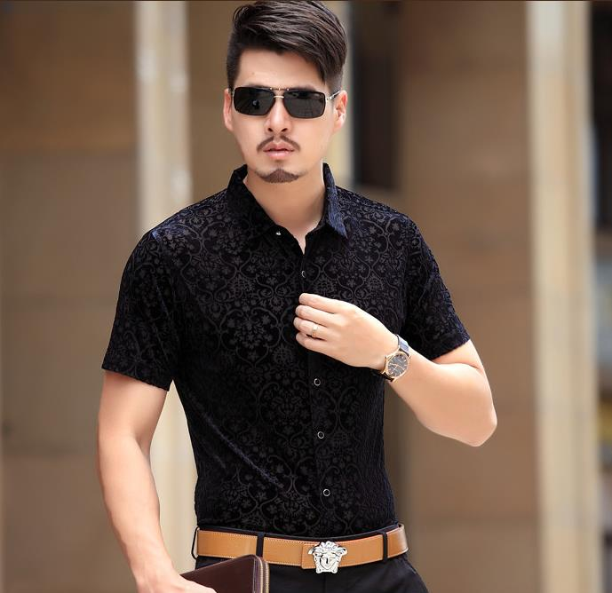 2017 summer mens see through black silk shirts men fashion Shirts for thin guys