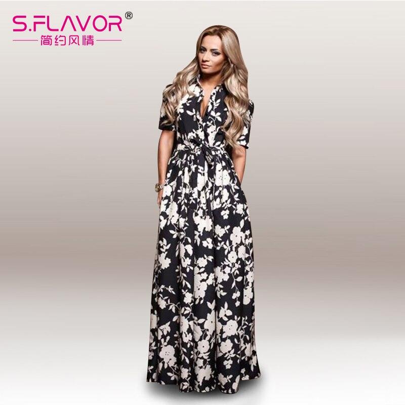 Женщины шифон тонкий платье 2017 женщин весна лето печати долго платье v-образным вырезом длиной до пола, сексуальный vestidos новая мода стиль
