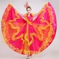 Ярко-розовый красный танец костюм фламенко Испанский бык танец платье расширение юбки сценические костюмы для певцов национальный костюм