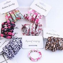 LNRRABC 6PCS/Set Women 9 Colors Korean Style Hair Ropes Floral Print High Elastic Fashion Elastic Hair Bands
