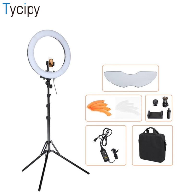 Tycipy 18 55W 5500K 240 LED Dimmable Photography Camera Photo/Studio/Phone/Video Photo Photography Ring light Lamp with Tripod fotopal led ring light for camera photo studio phone video 1255w 5500k photography dimmable ring lamp with plastic tripod stand