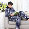 4XL Autumn Winter British Plaid Thick Coral Fleece Men Pajamas Sets Full Length Cotton Blue Sleepwear Thermal Nightclothes MQ