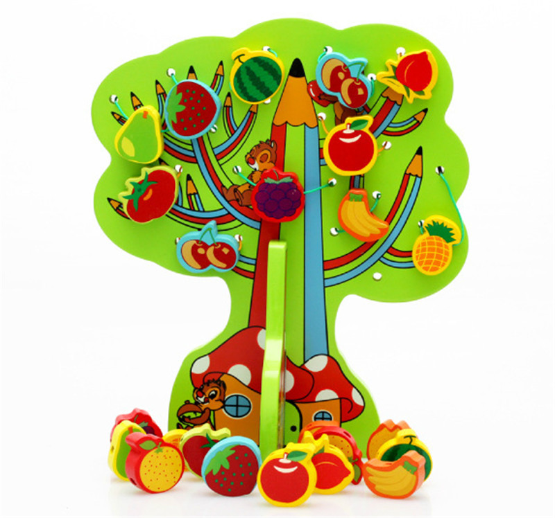 New wooden toy Happy Fruit Tree Color fruit clusters of trees baby Free shipping