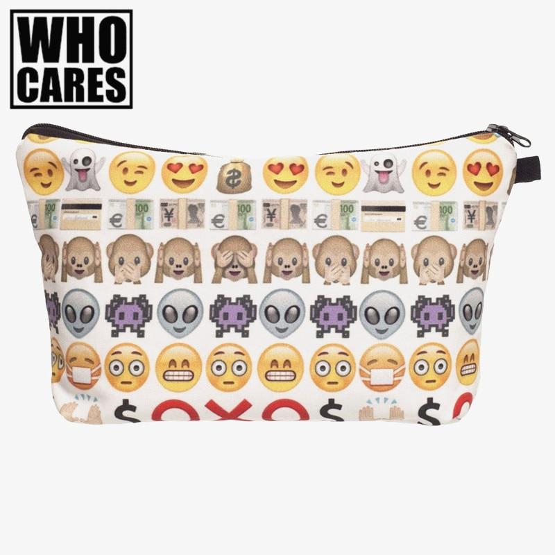Emoji 3D Printing cosmetic bag women bolsos font b mujer b font de marca famosa 2016