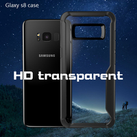 2017 High Quality TPU Bumper Case 3 Colors Soft Frame HD Transparent Back Cover For Samsung Galaxy S8 Clear Cover For S8 Plus