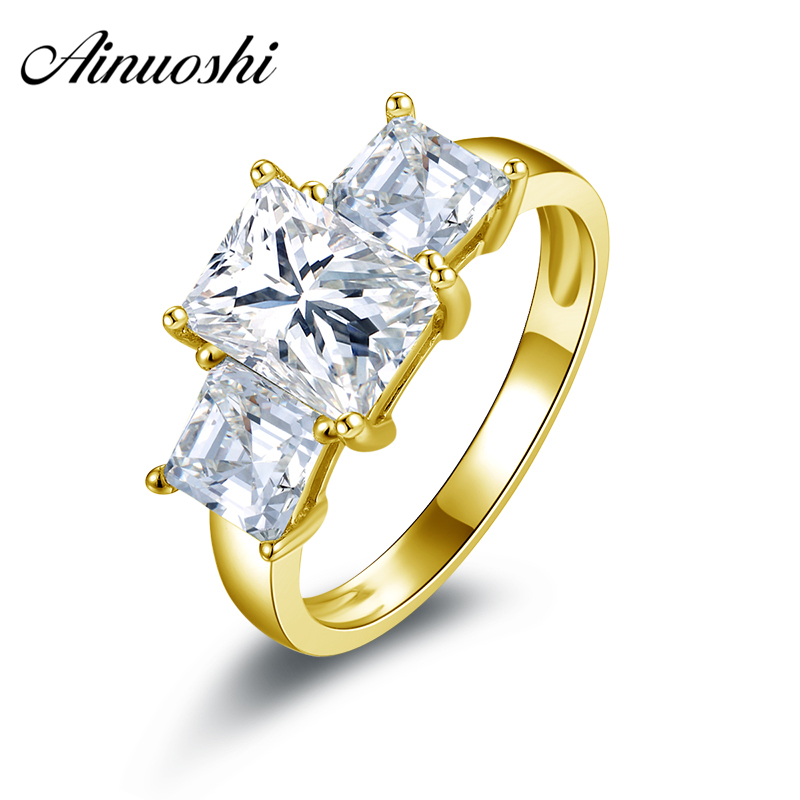 AINUOSHI 10k Solid Yellow Gold Wedding Ring 1.5 ct 3 Stones Square Shaped Simulated Diamond Engagement Bague Bridal Wedding Ring