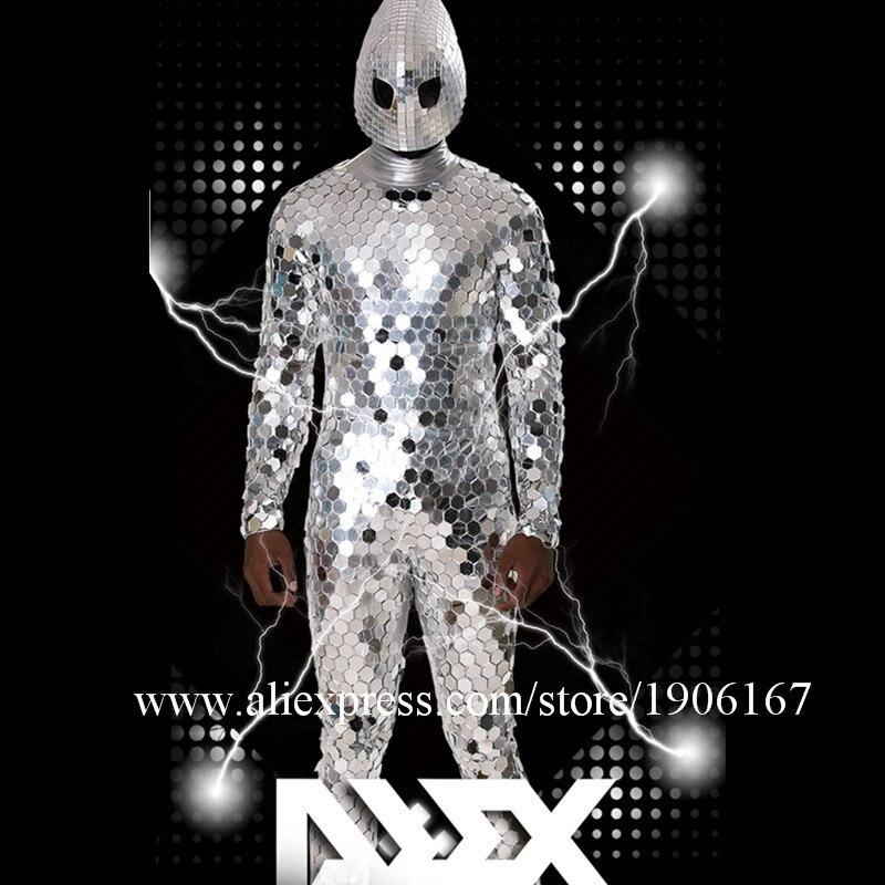 New unique futuristic alien male costume nightclub male GOGO cool mirror man costume commercial men\'s clothing1
