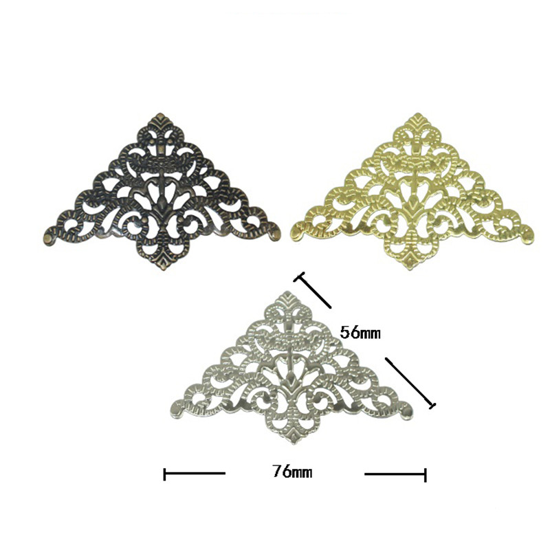 цены на Filigree Triangle Flower Wraps Cabochon Ancient Christmas Flatback Metal Embellishments Scrapbooking For DIY,56mm,50Pcs в интернет-магазинах