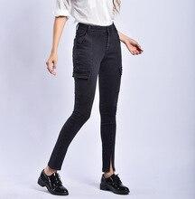 2019 Женщины с высокой талией Сплит Повседневные джинсы скинни Черные брюки-карго S / 3Xl Большой ра
