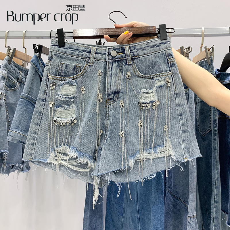Bumpercrop Crystal hole woman shorts jeans 2019 summer Tassel dance lady hole blue Beading mini by