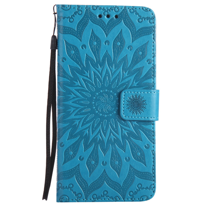 For iPhone 7 Flip Leather Case for Fundas Apple iPhone 7 plus Coque Mandala Flower Wallet Cover Stand Phone Cases