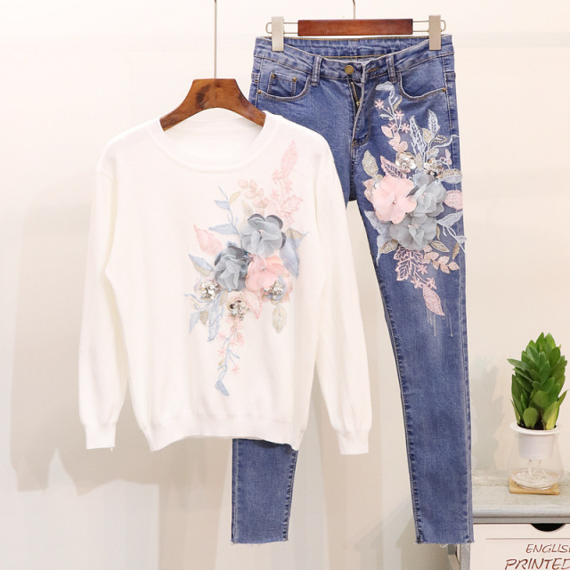 Autumn 2019 Woman's New Embroidered Sequins Flowers Knitted Sweaters Blouses + Jeans Suit Women Two-piece Lady Denim Pants Sets