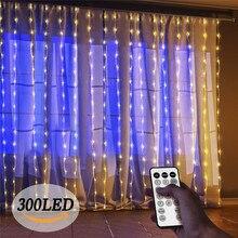 8 trybów IP67 kurtyna świetlna na okno zewnętrzne łańcuchy świetlne LED 300 łańcuch lampek świątecznych sopel sypialnia dekoracje ścienne domu
