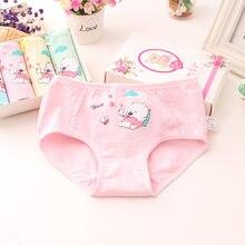 4 pçs/lote meninas jovens algodão calcinha crianças bonito roupa interior para 3-10yrs