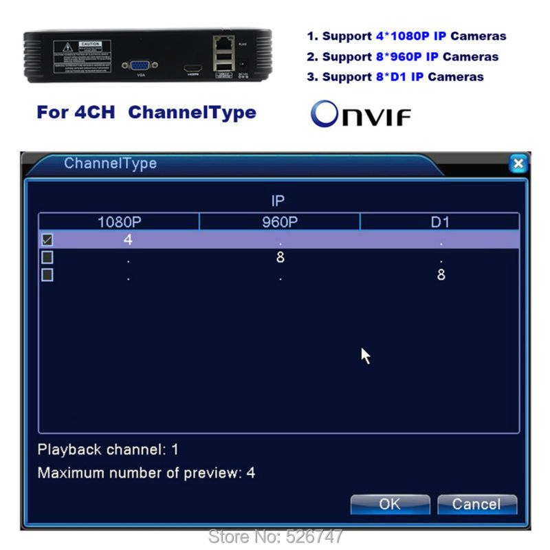 3-4CH 8CH Network Video Recorder 1004F