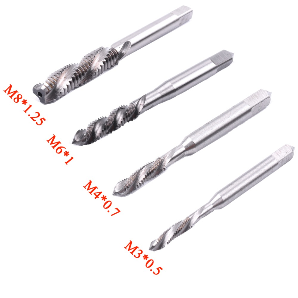 Hot 1Pcs HSS Hand Tap M3 M4 M6 M8 Machine Spiral Point Straight Fluted Screw Thread Metric Plug Left Hand Tap Drill Hand Tool