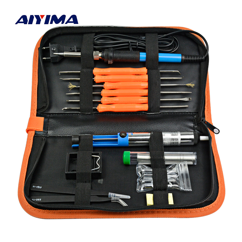 Aiyima AC 220V Soldering Iron Kit Repair Tools Adjustable Temperature Welding Hand Tool Sets EU Plug Electronic Components 14pcs the key with combination ratchet wrench auto repair set of hand tool kit spanners a set of keys herramientas de mano