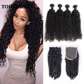 10A Kinky Curly Virgin Hair With Closure Rosa Hair Products Malaysian Virgin Hair With Closure 4 Bundles Curly Hair With Closure