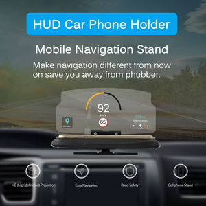 Image 2 - אוניברסלי טלפון רכב מראה מחזיק שמשות מקרן HUD ראש Up תצוגת GPS ניווט HUD מתקפל סוגר עבור iPhone סמסונג