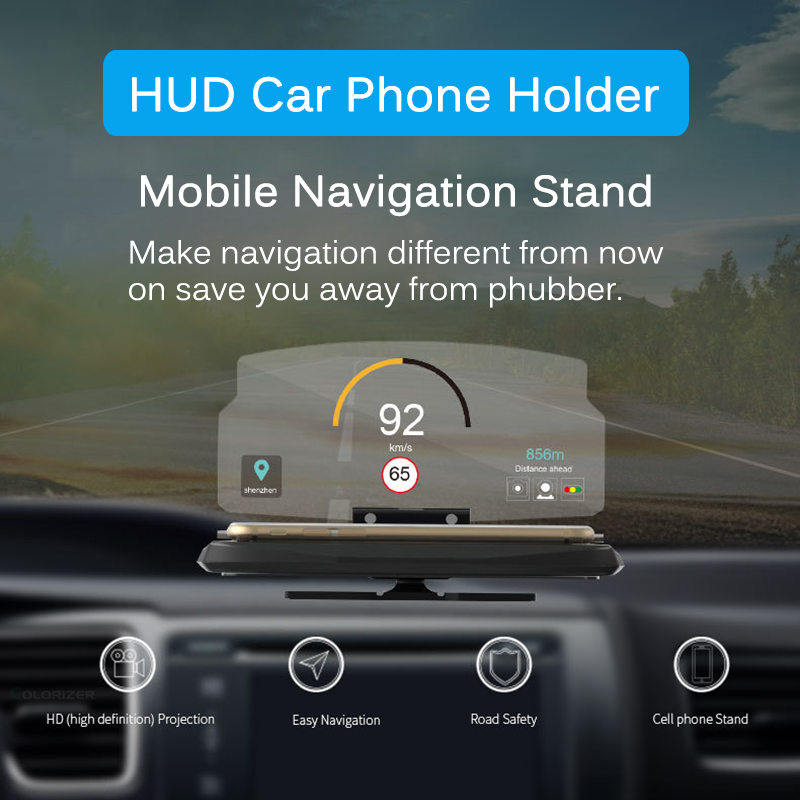 Image 2 - Universal Phone Car Mirror Holder Windscreen Projector HUD Head Up Display GPS Navigation HUD Folding Bracket For iPhone Samsung-in Phone Holders & Stands from Cellphones & Telecommunications