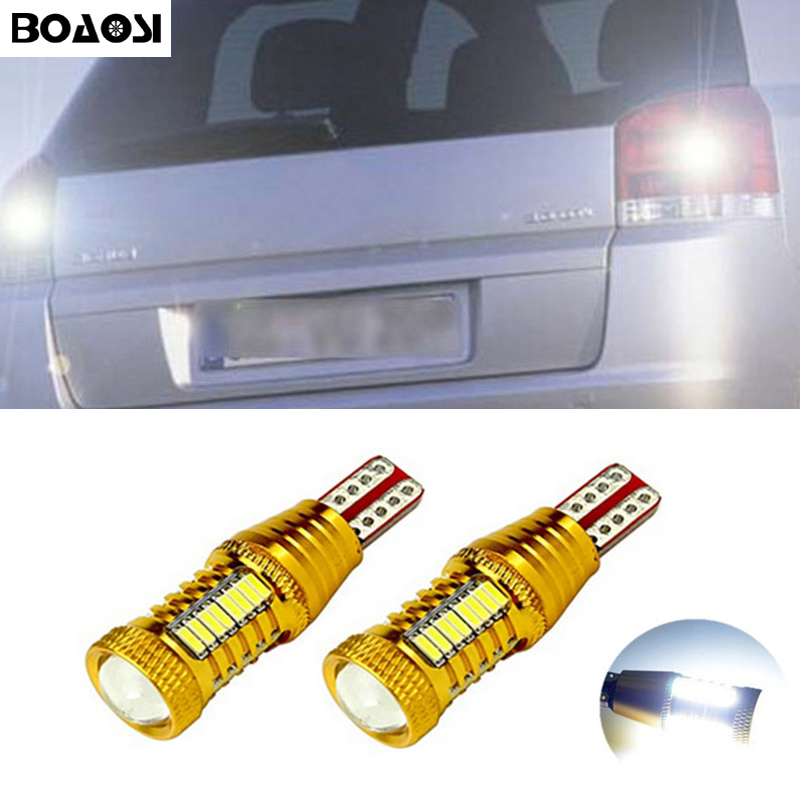 BOAOSI 2x Canbus T15 LED Reverse Light W16W Car LED Error Free Backup Light Bulb For Opel Combo Box Meriva B Mokka Zafira Tourer 2 x error free super bright white led bulbs for backup reverse light 921 912 t15 w16w for peugeot 408