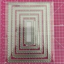 Ufurty Metal Cutting Dies Rectangular scallop frame Stencils