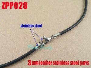 """Image 4 - (16 """" 38"""") 20 piezas 3mm negro cuero Real collar Acero inoxidable accesorios joyería DIY ZPP028"""