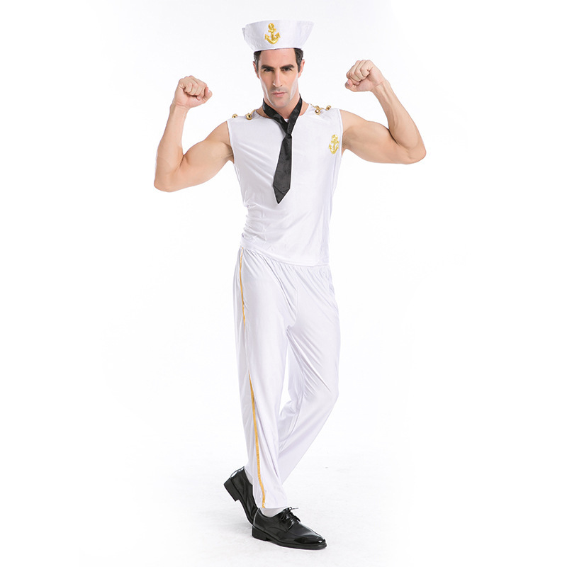 Men Halloween Cosplay Costumes Sailor Navy Captain Boatman Cosplay Costumes Costume Ball Cosplay 4PCS Set White Short Sleeves