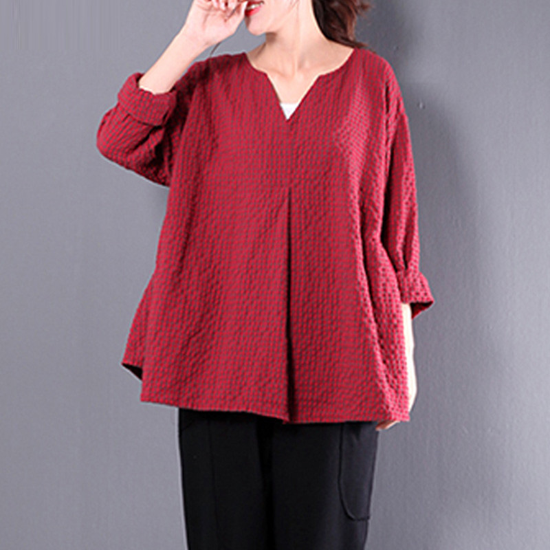Womens Vintage Flax 3/4 Sleeve O Neck Cotton Linen Loose shirts Tunic Shirt summer Top ladies Blouse women camisa feminina