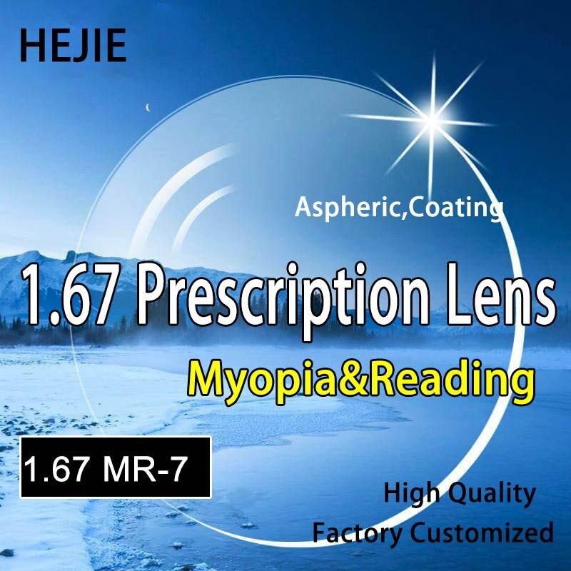 Fábrica Personalizado 1.67 Índice MR-7 Ultra Fina Miopia & Lente Para Óculos de Leitura Hipermetropia, Revestimento Duro Anti-Riscos Anti Glare