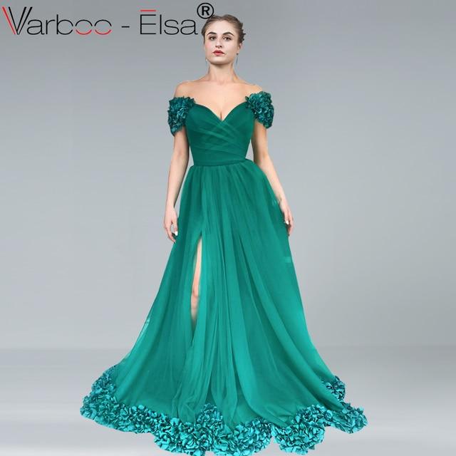 b186e85234 VARBOO ELSA Green Tulle Vintage Off Shoulder Evening Dress 2018 New Flower Party  Gown Elegant Sweetheart Prom Dress High Split